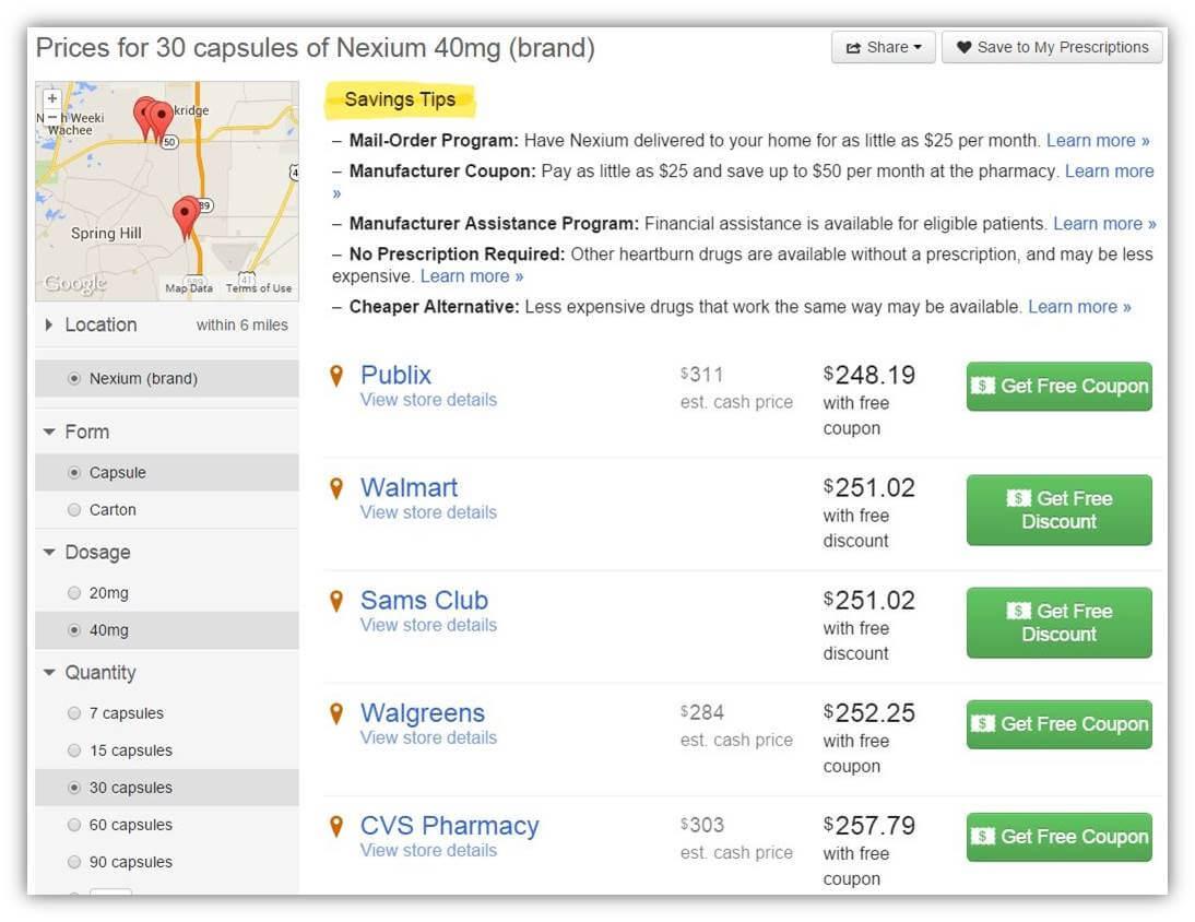 nexium online price
